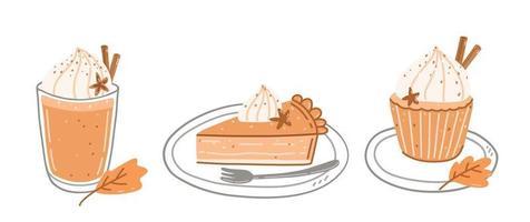 Pumpkin spice latte, piece of pumpkin pie and cupcake vector