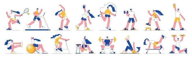 Fitness Flat Set vector