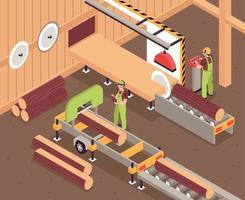ilustración de producción de muebles de madera vector