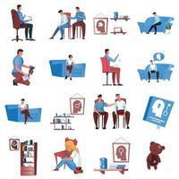Psychology Flat Icon Set vector