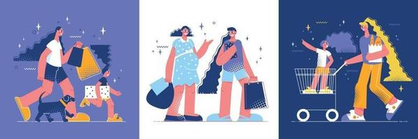 Shopping Mothers Design Concept vector