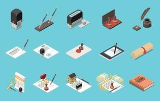 Notary Services Isometric Set vector