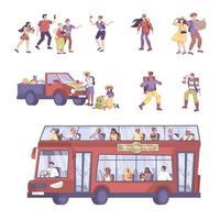 Tourist Excursion Icon Set vector