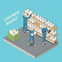Chicken Roost Isometric Background vector