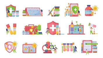 vacunación, plano, aislado, icono, conjunto vector