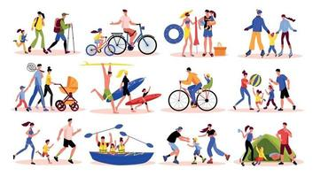 Active Family Icons Collection vector