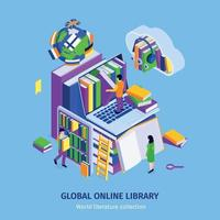 cartel isométrico de la biblioteca en línea vector