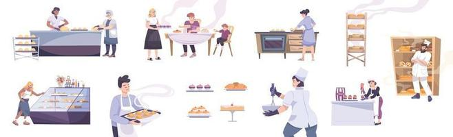 Bakery Flat Icons Collection vector