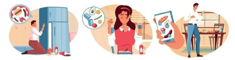 Nutritions Diet Compositions Set vector