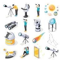 conjunto de iconos de equipo de astronomía vector