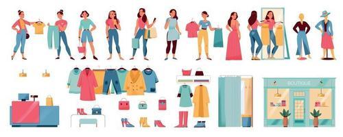 conjunto de mujeres en la tienda vector