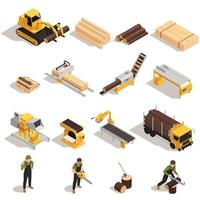 Lumberjack Isometric Icons Set vector