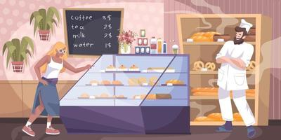 Bakery Shop Flat Composition vector