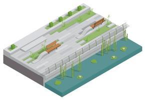 Embankment Landscape Design Composition vector