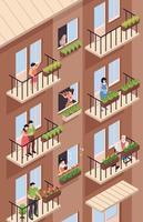 Balcony Neighbours Isometric Composition vector