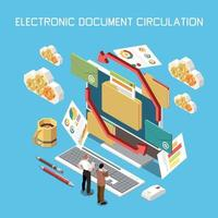 Electronic Documents Circulation Composition vector