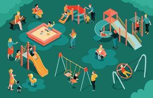 Isometric Children Playground Composition vector