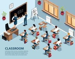 School Classroom Isometric Background vector