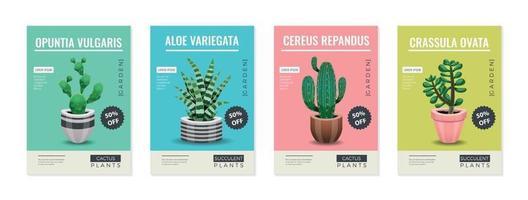 Cactus Pot Posters Set vector