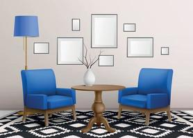 Blue Chairs Interior Composition vector