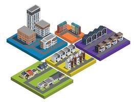 Suburban Buildings Platform Set vector