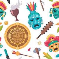 Maya Civilization Seamless Pattern vector