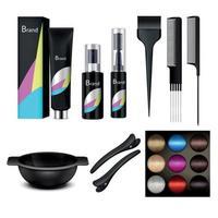 Hair Coloring Icon Set vector
