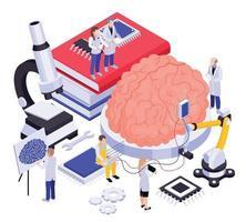 Brain Implants Isometric Composition vector
