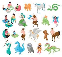 Fairytale Characters Isometric Set vector