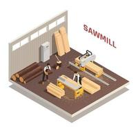 Sawmill Isometric Composition vector