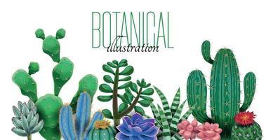 Cactus Botanical Text Composition vector