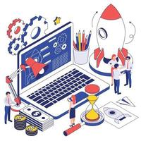 Business Startup Isometric Design Concept vector