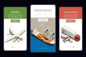 Cargo Transportation Isometric Set vector