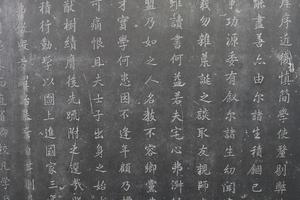Tabletas de piedra de caligrafía en el bosque de Xian de las estelas de piedra, museo de China foto
