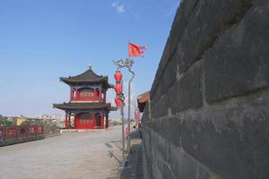 Famous Chinese ancient architecture stone city wall in Xian China photo