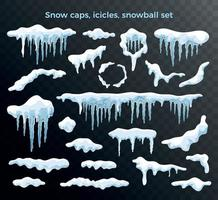 Snow Caps Icicles Set vector