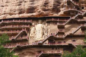 complejo de templos y cuevas de maijishan en la ciudad de tianshui, provincia de gansu, china. foto