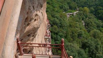 Maijishan cueva-templo complejo en la ciudad de Tianshui, provincia de Gansu, China foto