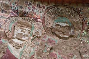 La Shao temple grotto relief in Tianshui Wushan China photo