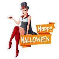 Woman in Halloween party vampire costume vector