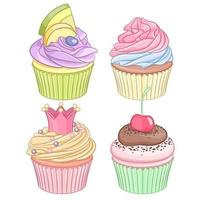 Set of colorful cupcakes isolated on white background vector