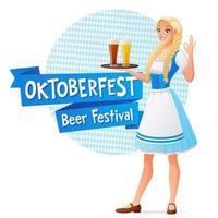 Pretty woman holding beer Oktoberfest vector illustration