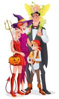 Cartoon vector family in Halloween party costumes