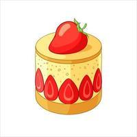 Strawberry Fraisier cake dessert vector illustration