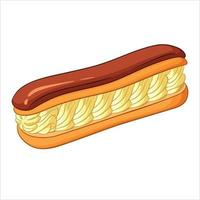 Eclair pastry filled with cream and chocolate vector