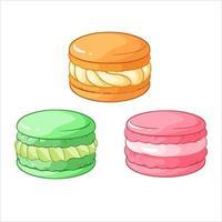 Colorful macarons dessert vector illustration