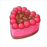 Heart shape berry cake vector illustration