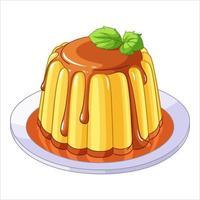 Creamy caramel flan dessert vector illustration