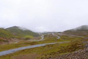 Road around the mountain cloudy day in Qinghai Province China photo