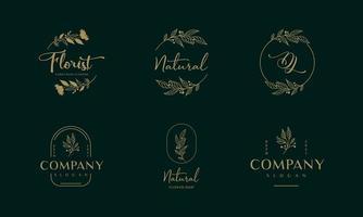Flower luxury floral logo design. Modern style of design elements. vector